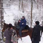 Aufeinandertreffen von Fußgängern und Reitern am Hammelbrunnen